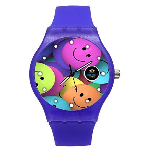 Uhr PERSONALISIERTES Custom Watch CASSA UND KINTURIN Gummi Multicolor Smiles Emoticon Emoji blau
