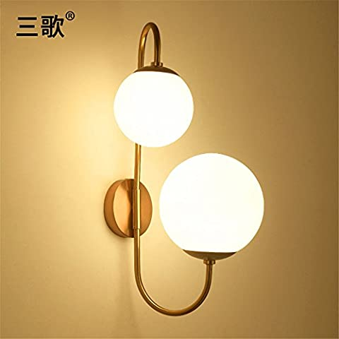 Larsure Vintage Industrial Style Wall Sconce Wall Light Lamp Iron wall lamp Creative glass ball Round living room Art restaurant Bedside wall lamp, 570 *