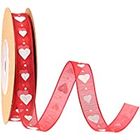 TUPARKA 10 mm Corazón de San Valentín con cinta de organza impresa para regalo de San Valentín. Decoración de San Valentín con tarjeta de papel. Creación de un proyecto artesanal, 10 metros.