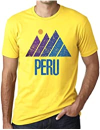 One in the City Hombre Camiseta Vintage T-Shirt Gráfico Mountain Peru Amarillo