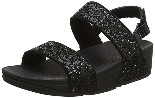 FitFlop Damen Glitterball Sandal Blau (Black Glitter)