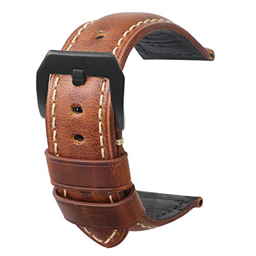Cinturino per orologio in pelle da uomo Retro Panerai Watch Watch 20mm 22mm 24mm adatto per accessori per orologi high-end tradizionali o cinturino sportivo moda smart marrone grande fibbia 22mm