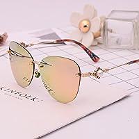 LXKMTYJ Die Sonnenbrillen und Seitenflügel Spiegelgläser ist stilvoll Kette Pearl dunkle Brille, zitrone gelb