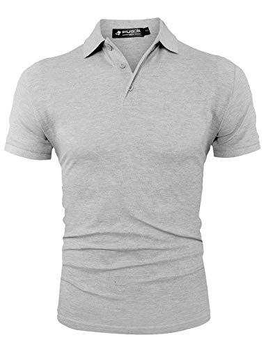 Kuson Herren Poloshirt Kurzarm einfarbig Sommer T-Shirt Men's Polo Shirt Baumwolle (M, Grau) - Casual Kurzarm-polo