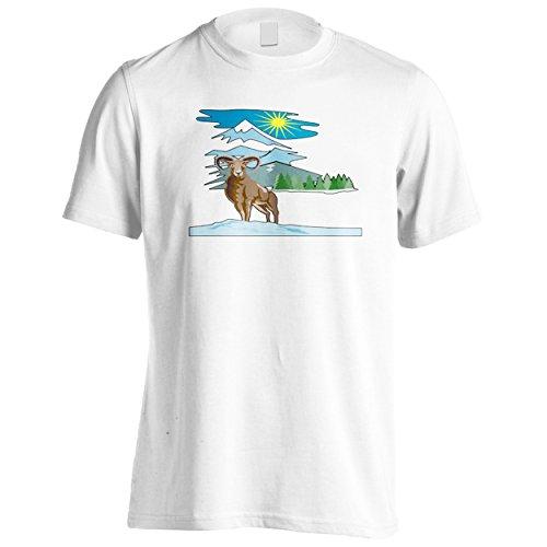 Regalo divertente di novità della montagna delle pecore Uomo T-shirt f355m White