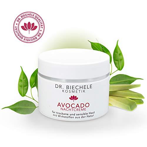 Dr. Biechele Nachtcreme Avocado I 50 ml leichte Feuchtigkeitscreme für trockene Haut I Reichhaltige Gesichtscreme aus Avocado-Öl, Mandelöl, Dexpanthenol, Vitamin C + E I Ideales Weihnachtsgeschenk