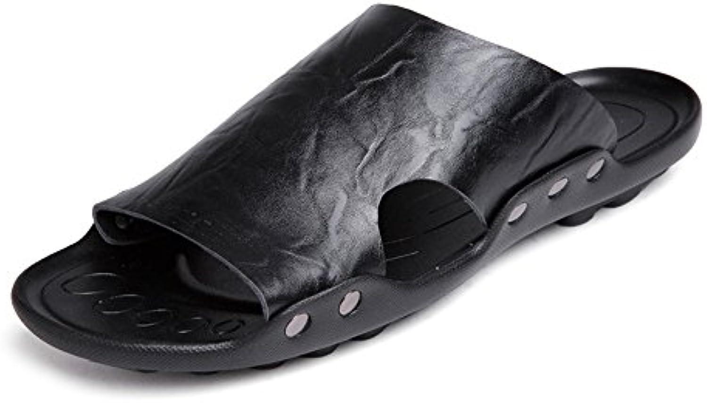 Zapatillas de Hombre de Cuero Genuino Zapatillas de Playa Sandalias Ocasionales Trabajo Hecho a Mano Antideslizantes...