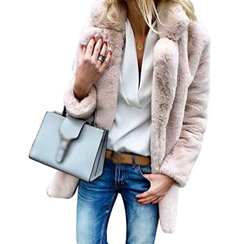 Jeelinbore donna ragazza giacche inverno lapel cardigan caldo giubbotto giacca cappotto di pelliccia sintetica (rosa, cn 3xl)