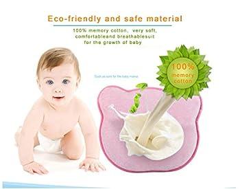 Baby-memory-schaumstoff-kissen, Romanstii Weich Waschbar Baumwolle Säuglinggs Kopf Unterstützung Verhindert Flachen Kopf Für 0-18 Monate Baby Neugeborene (10.24 '' X 8.76 '' X 1.38 '', Rosa) 4