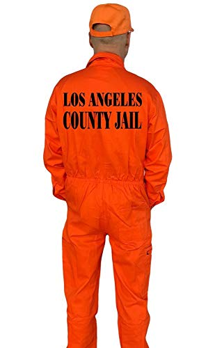 Coole-Fun-T-Shirts LOS Angeles County Jail Kostüm Set Overall + Cap Orange 48