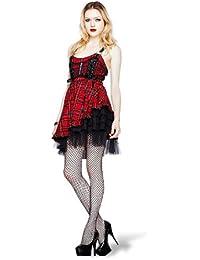 Hell Bunny - vestido corto escocés a cuadros - minivestido de fiesta - con volantes, de tul y acordonado - rojo