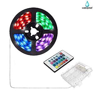Batteriebetriebene LED-Streifenlichter, 24 Tasten ferngesteuert, DIY Innen- und Außendekoration, 6.56ft wasserdicht