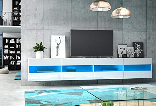 VIVALDI Mueble para TV - RITA DOUBLE - 200 cm - Blanco Mate con Blanco Brillante con iluminación LED Azul - Estilo Design