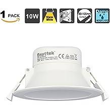 10W Lampara Plafone Foco LED Empotrable de Techo Downlight LED Luz Calida 3000K para Baño y Cocina AC100~240V Agujero del Techo Ø90-105mm Pack de 1 de Enuotek