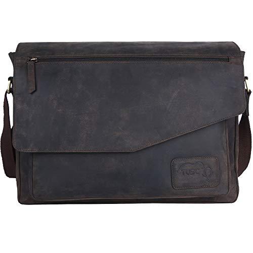 Leder-laptop-aktentasche (TUSC Triton Braun Leder Tasche Laptoptasche bis 17 Zoll Herren Umhängetasche Aktentasche Schultertasche für Büro Notebook Messenger Bag Laptop iPad, Größe- 41x31x12 cm)