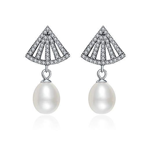 Orecchini pendenti con perla a ventaglio in argento sterling 925, orecchini con pavé di zirconi trasparenti e perle d'acqua dolce, da donna, gioielli eleganti