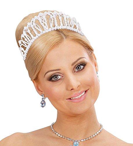 are Perlen-Krone Diadem Tiara Königin Prinzessin Burgfräulein Märchen Regentin Royal Majestät Audrey Kostüm-Zubehör Kopfschmuck ()