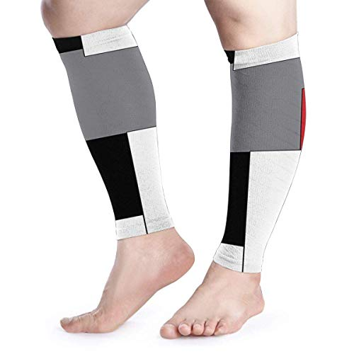 White Grey Black and Red Irregular Geometric Calf Compression Sleeves Men & Women Calf Support Calf Guard for Improved Recovery and Blood Flow Active Run Thermal
