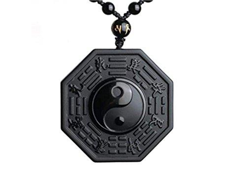 """'Halskette und Anhänger geschnitzt """"Yin & Yang aus schwarzem Obsidian"""