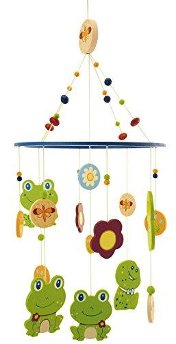 BIECO 3D Baby Mobile Frosch Froggy aus robustem Holz, viele bunte Figuren erfreuen und beruhigen als Blickfang am Kinderbett, Wickeltisch oder am Spielbogen. 23931323