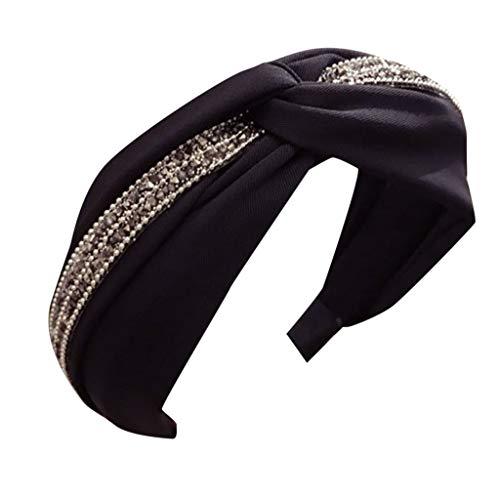 Younthone Damen Kopfband Haarspange,Womens Stirnband Haarband Bogen Knoten Kreuz Strass Headwrap Haarband Hoop speciales neues Design für Damen - Elastische Kreuz-klammer