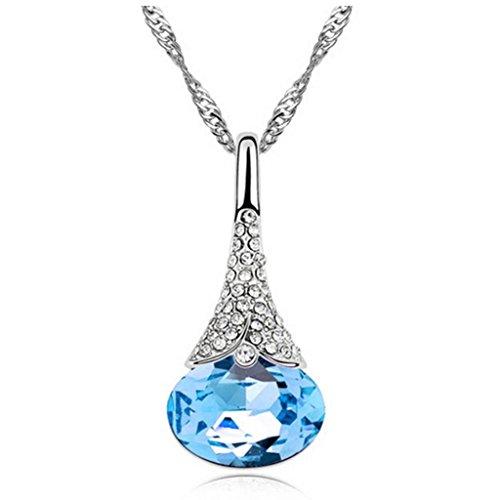 HuaYang Fashion Chaîne pendentif en cristal strass diamant collier des femmes(Bleu ciel)