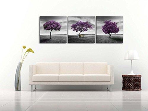 Impresión sobre lienzo, cuadro artístico para decoración del hogar, paisaje de prado, árbol morado, campo verde en estilo blanco y negro, obra de arte enmarcada de 3piezas, 3 paneles de 40,6 cm x 40,6 cm con imágenes impresas