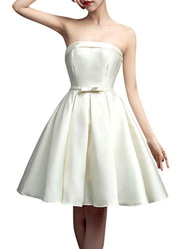 Azbro Women's Fashion Off Shoulder Bow Waist A-line Dress Ivory White