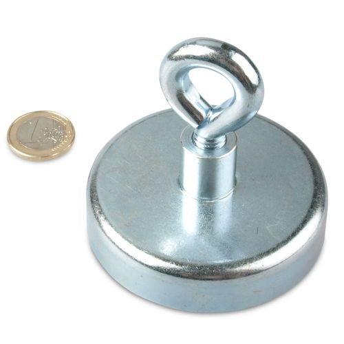 Ösenmagnet Ø 75 mm NEODYM - Zink - hält 160 kg