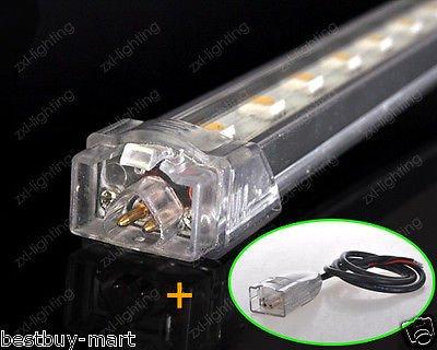 10x LED Streifen Strip Licht Alu Starre Lichtleiste Interior Bar Lampe Wasserdicht IP54 DC12V 50CM 36LED SMD5050 für Hause Aquarium Auto Schrank Warmweiß (Aluminium-trailer-schrank)