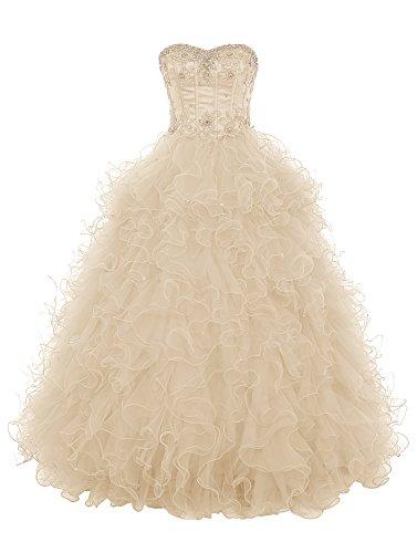 Dresstells Damen Ballkleider Party Hochzeitskleid Tüll Luxuriös Figurbetont  DT90666 Champagner