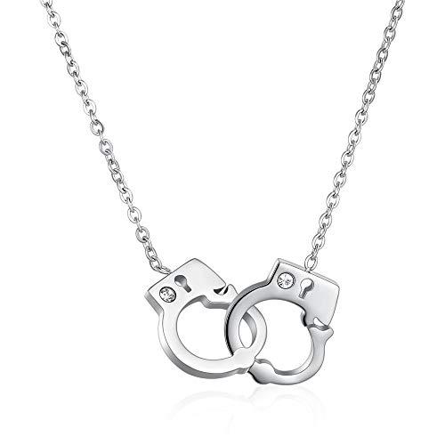AFCITY Frauen Halskette Anhänger Kreative Kristall Titan Halskette Handschellen Design Anhänger Schlüsselbein Kette Frau Festival Schmuck Geschenk für Liebhaber Prinzessin