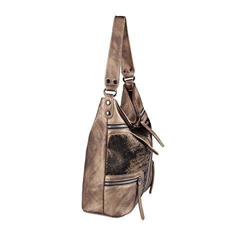 OBC Only-Beautiful-Couture, Borsa tote donna nero Schwarz-Silber 35x29x13 cm xxl Taupe-Bronze 35x29x13 cm