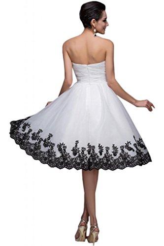 Sunvary Suess 2015 Neu Kurz Appilkation Tuell Falte Brautkleid Abendkleid  Cocktailkleider Weiß