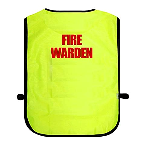 Printed Fire Warden High Visibility Hi Vis Viz Tabard Safety Waistcoat Yellow One Size