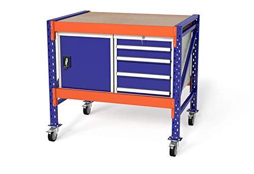 Werkbank Arbeitstisch fahrbar Werkstattwagen von TOPREGAL, B120xH89-129xT80cm, Multiplexplatte, Module: 1x WS4 / 1x WST