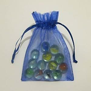 Lot de 50 sachets/pochettes en organza - Couleur : Bleu roi - 15 x 22 cm