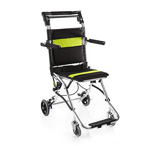Leichtgewicht-faltrollstuhl (YZ-YUAN Leichter Faltbarer tragbarer Rollstuhl, Alter tragbarer Trolley-Flugzeugrollstuhl aus Aluminiumlegierung)