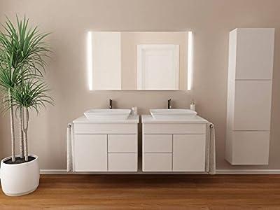 Badspiegel mit Beleuchtung Iona M313N2V: Design Spiegel für Badezimmer, beleuchtet mit Neon-Licht, modern, groß, ohne Rahmen, rahmenlos - Kosmetik-Spiegel Toiletten-Spiegel Bad Spiegel Wand-Spiegel mit Beleuchtung