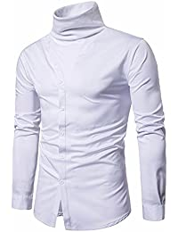 BUSIM Men's Long Sleeve Shirt Slim Solid Color High Neck Casual Button Trend Fashion T-Shirt Formal Tops Comfortable...