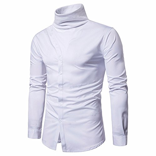 JUTOO2019 Herrenhemden Slim Fit Solide Langarm Casual Button Shirts Formelle Bluse (Weiß,XX-Large)