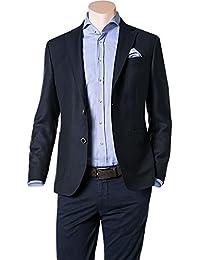 RENÉ LEZARD Herren Sakko Schurwolle Anzugjacke Meliert, Größe: 48, Farbe: Blau
