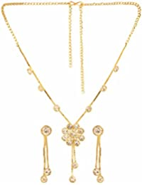 Parinaaz Designer Gold Plated Crystal Stylish Necklace Jewellery Set With Dangler Earrings For Girls