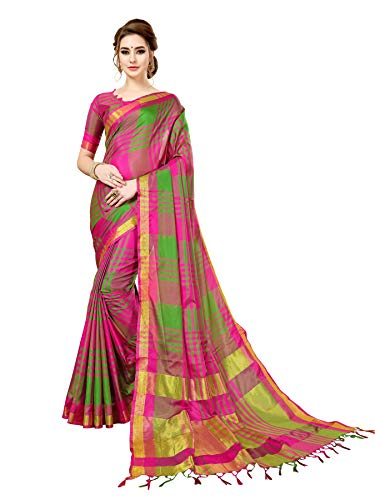 ANNI DESIGNER Women's Sarees Cotton Silk Saree with Blouse Piece (E Kart_Pink & Green_Free Size)