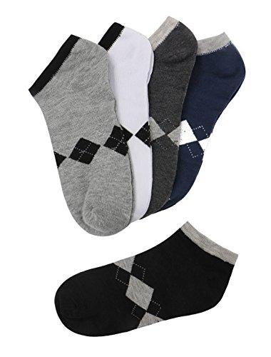 sourcingmap® Herren Low Cut Elastische Bündchen Knöchellang Shorts Socken 5er Packung Socken Größe 10-13 Schuhe Größe 40-45 - Baumwolle, Verschiedene Farbe-Argyle, 35% polyester 5% elasthan; 60% baumwolle, Herren, Regulär (Argyle-schuh)