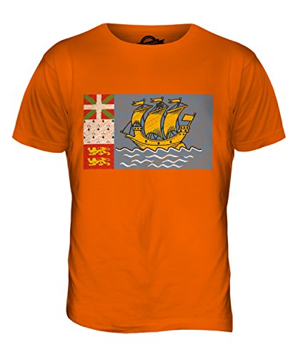 CandyMix Saint-Pierre Und Miquelon Kritzelte Flagge Herren T Shirt Orange