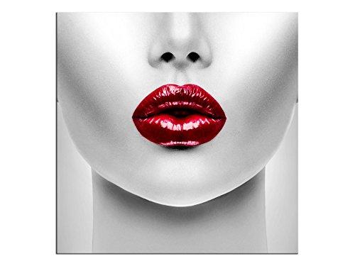 Bild Leinwandbilder Canvas Sexy rote Lippen Schönes Modell A05337 Größe 80 x 80 cm (Sport-foto-rahmen)
