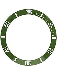 Sonew Cerámica Reloj Bisel Insertar Números marcadores Reloj de Pulsera reemplazo del Lazo Clásico Anillo Pulsera(Green)