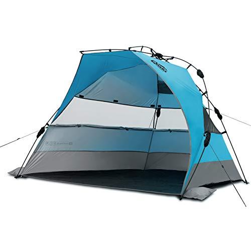 Qeedo Strand-Zelt Quick Bay XL mit UV-Schutz (UV80 nach UV-Standard 801) Pop-UP-Strandmuschel - blau