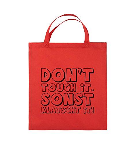 Comedy Bags - DON'T TOUCH IT - KLATSCHT - Jutebeutel - kurze Henkel - 38x42cm - Farbe: Schwarz / Silber Rot / Schwarz
